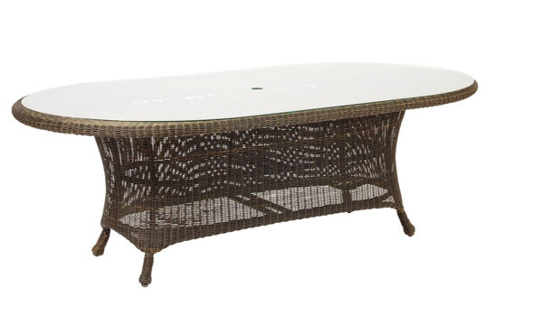 Picture of Woodard Serengeti Oval Dining Table with Glass Top