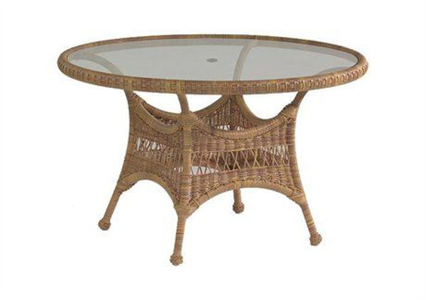 Picture of Woodard Sommerwind Round Umbrella Dining Table with Glass Top