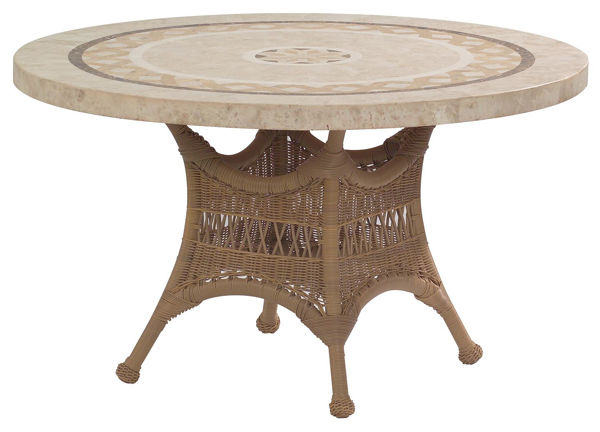 Picture of Woodard Sommerwind Round Stone Top Umbrella Dining Table
