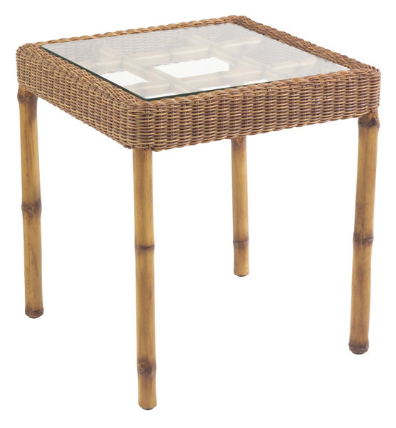 Picture of Woodard South Terrace Square End Table with Glass Top