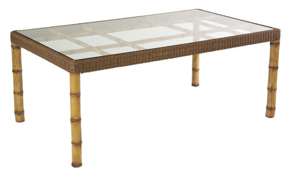 Picture of Woodard South Terrace Rectangular Dining Table with Glass Top