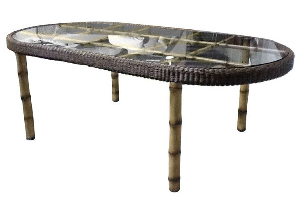 Picture of Woodard South Terrace Oval Dining Table with Glass Top