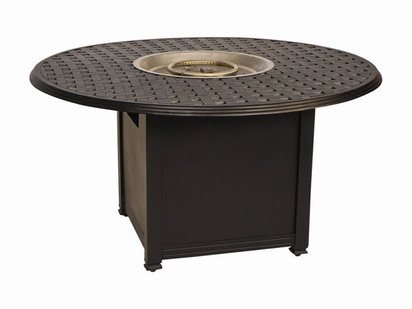 Picture of Woodard Aluminum Square Dining Height Fire Pit Base with Round Burner