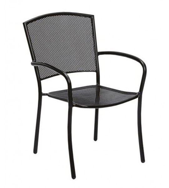 Picture of Woodard Albion Textured Black Arm Chair - Stackable