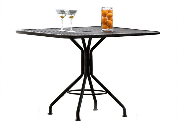 """Picture of Woodard Moderne Textured Black Contract 36"""" Square Umbrella Top Table"""