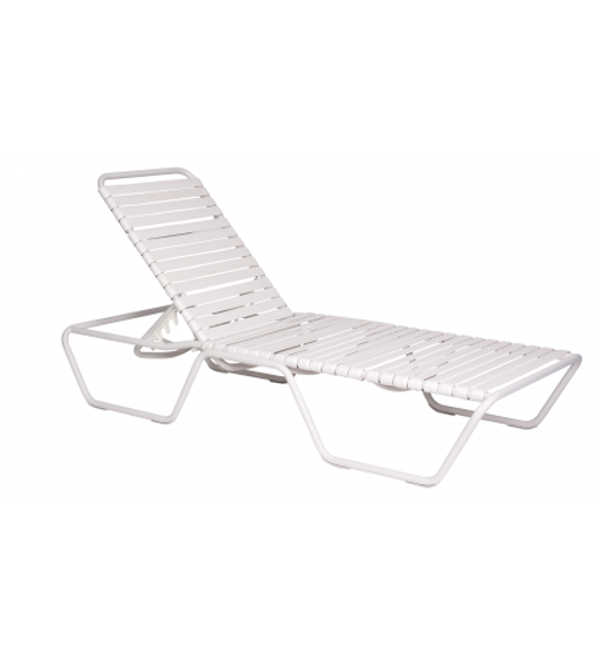 Picture of Woodard Baja White Adjustable Chaise Lounge - Stackable