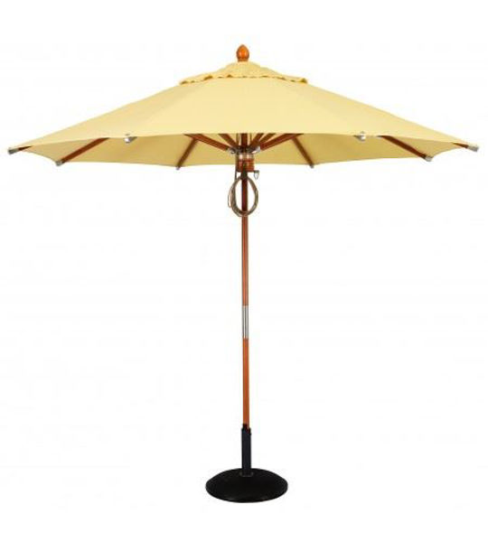 Picture of Woodard Market Umbrellas 9 Foot Pulley - Teak Stain Hardwood