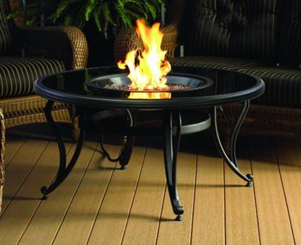 """Picture of Outdoor Great Room 42"""" Black Glass Table"""