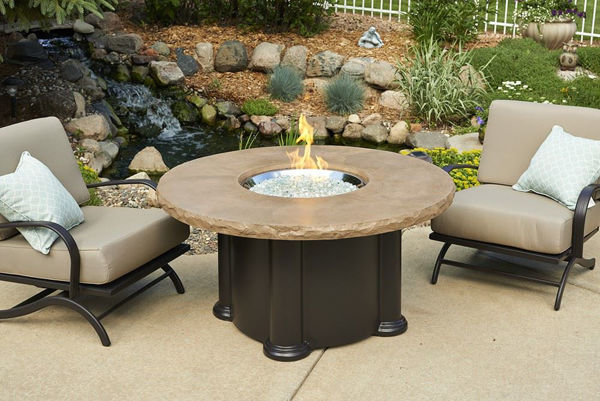Picture of Outdoor Great Room Colonial Fire Pit Table with Round Mocha Top