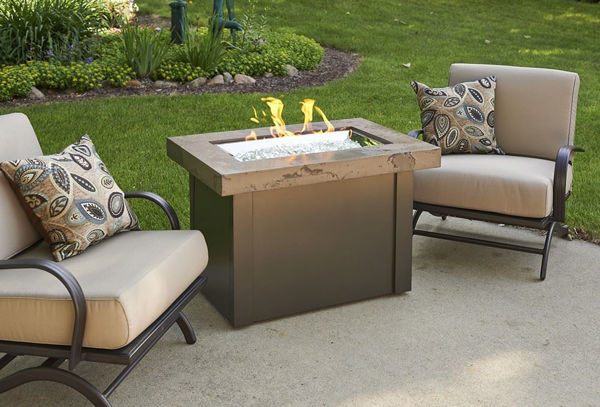 Picture of Outdoor Great Room Providence Fire Pit Table with Marbleized Noche Top