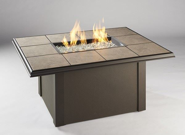 Picture of Outdoor Great Room Rectangular Napa Valley Fire Pit Table Metal Base - Brown