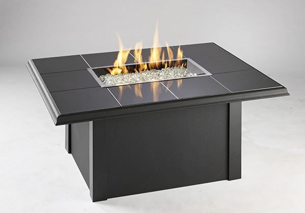 Picture of Outdoor Great Room Rectangular Napa Valley Fire Pit Table Metal Base - Black