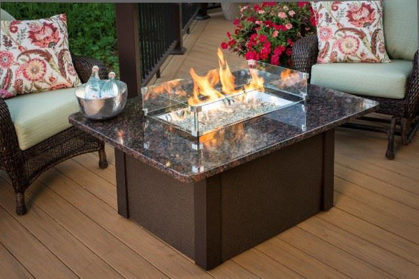Picture of Outdoor Great Room Grandstone Fire Pit Table - Brown Base