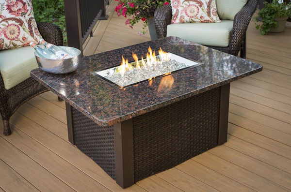Picture of Outdoor Great Room Grandstone Fire Pit Table - Brown Wicker Base
