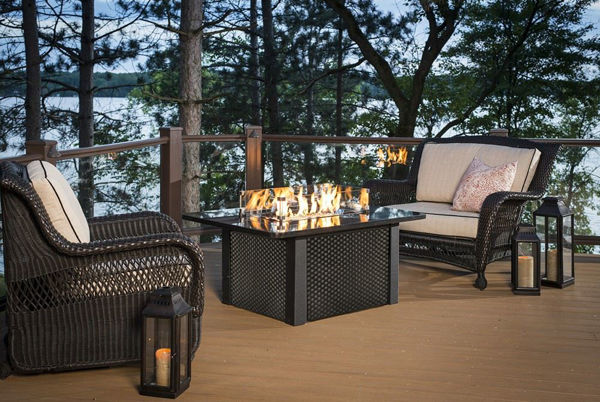 Picture of Outdoor Great Room Grandstone Fire Pit Table - Black Wicker Base