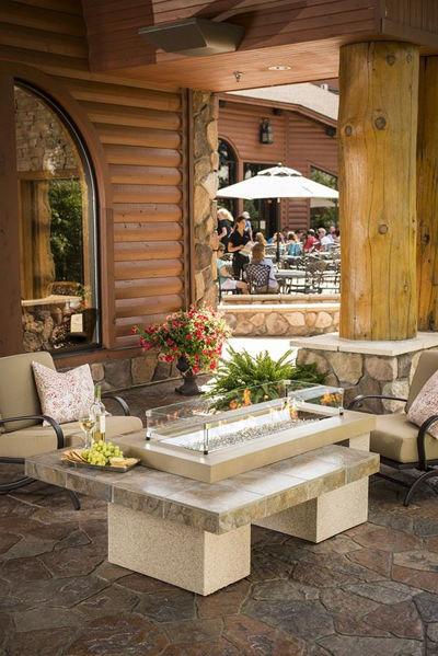 Picture of Outdoor Great Room Uptown Brown Fire Pit Table with Tile Top