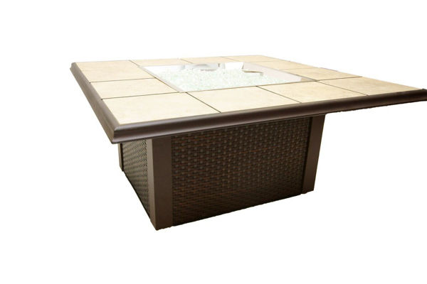 Picture of Outdoor Great Room Napa Valley Fire Pit Table with Brown Metal Corners