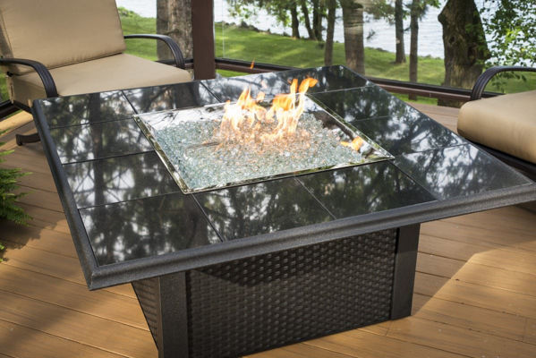 Picture of Outdoor Great Room Napa Valley Fire Pit Table with Black Metal Base
