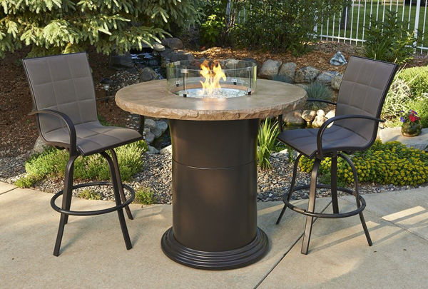 "Picture of Outdoor Great Room Colonial 42.5"" Pub Table with 48"" Round Mocha Top"