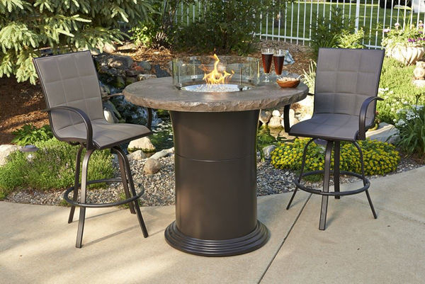 """Picture of Outdoor Great Room Colonial 42.5"""" Pub Table with 48"""" Round Marbelized Noche Blend Top"""
