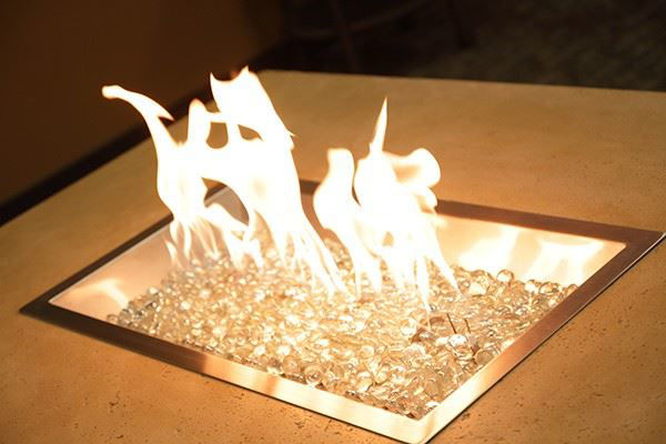Picture of Outdoor Great Room 12' X 24' Rectangular Crystal Fire Burner with Glass Fire Gems