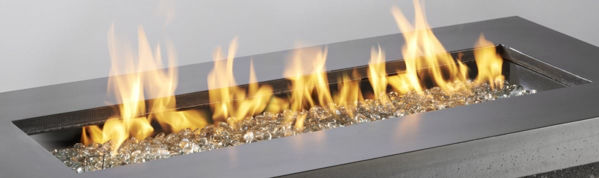 Picture of Outdoor Great Room 12' X 42' Rectangular Crystal Fire Burner with Glass Fire Gems