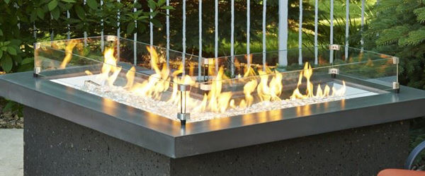 Picture of Outdoor Great Room 12' X 42' Crystal Fire Burners in L Shape with Glass Fire Gems