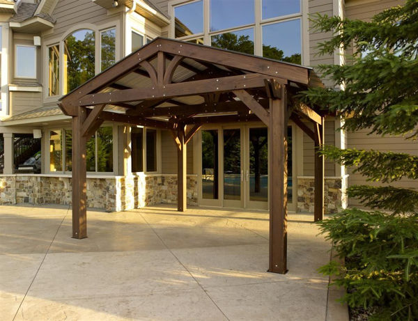Picture of Outdoor Great Room Lodge 14 x 14 Pergola  Fir - Mocha Stain
