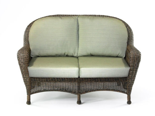 Picture of Outdoor Great Room Loveseat Cushion in Dupione Aloe