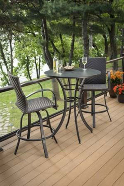 Picture of Outdoor Great Room adjustable base Empire Round Pub Table - Dora Brown