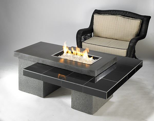 Picture of Outdoor Great Room Uptown Black Fire Pit Table granite tile top, base & burner
