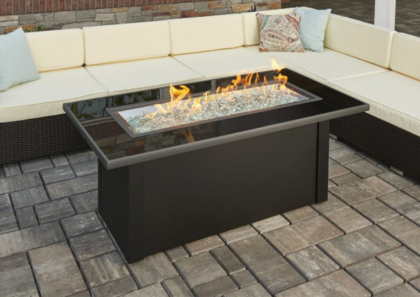 Picture of Outdoor Great Room Monte Carlo Coffee Table glass top, black metal base, burner cover