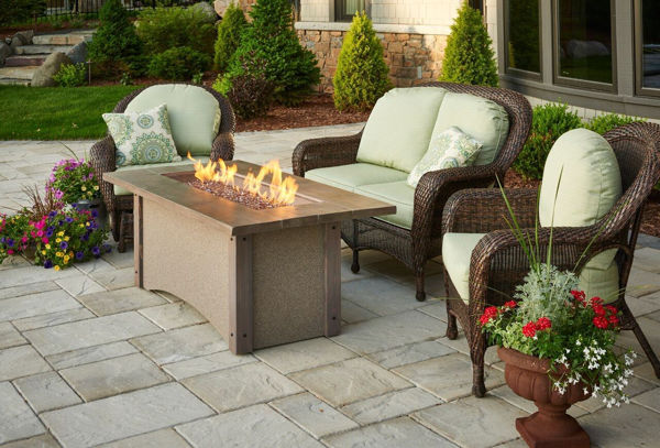 Picture of Outdoor Great Room Pine Ridge Fire Pit barnwood top ridge brown stucco base wood corners