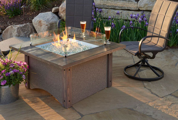 """Picture of Outdoor Great Room Pine Ridge 42"""" square fire pit with barnwood top wood corners"""