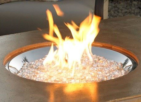 """Picture of Outdoor Great Room 20"""" Round Crystal Fire Honey Glow Brown Burner gas valve"""