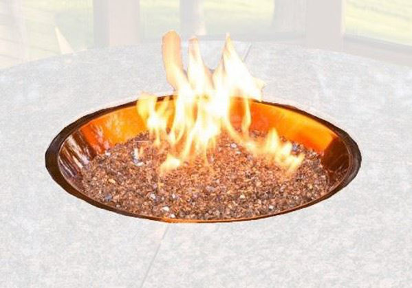 """Picture of Outdoor Great Room 20"""" Round Crystal Fire Copper Burner gas valve"""