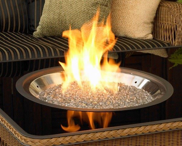 "Picture of Outdoor Great Room 30"" Round Crystal Fire Ss Burner With Glass Fire Gems Electronic Piezo"