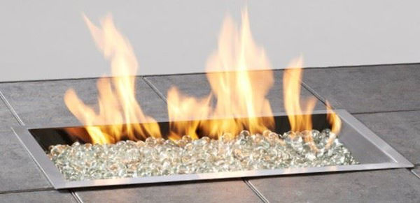 Picture of Outdoor Great Room 12' X 24' Rectangular Crystal Fire Pewter Burner With Glass Fire Gems