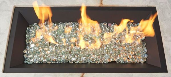 Picture of Outdoor Great Room 12' X 42' Rectangular Crystal Fire Black Burner With Glass Fire Gems