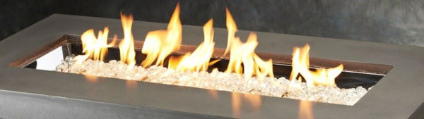 Picture of Outdoor Great Room 12' X 42' Rectangular Crystal Fire Pewter Burner With Glass Fire Gems