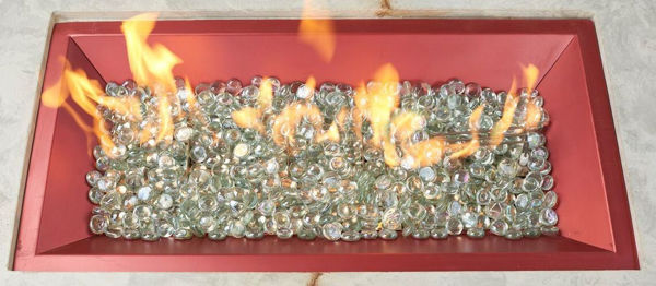 Picture of Outdoor Great Room 12' X 42' Rectangular Crystal Fire Shimmering Rose Red Burner With Glass Fire Gems