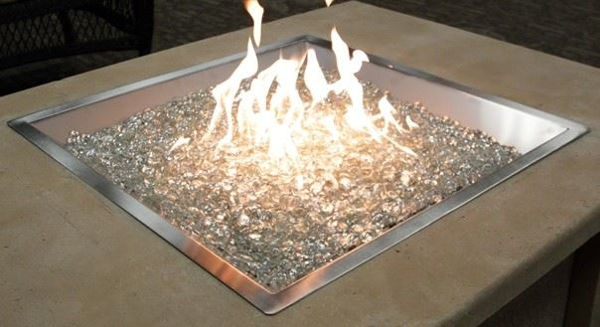 Picture of Outdoor Great Room 24' X 24' Square Crystal Fire Pewter Burner With Glass Fire Gems