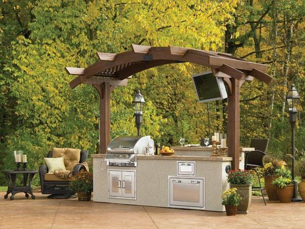 "Picture of Outdoor Great Room Mini 10"" Arched Sonoma Pergola In Mocha"