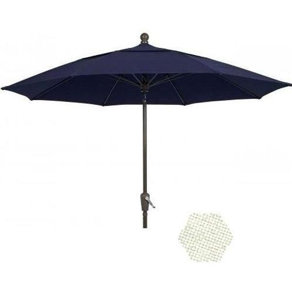Picture of FiberBuilt 7.5 Ft Patio Umbrellas with Crank Lift - Bright Aluminum Finish
