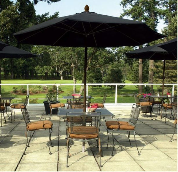 Picture of FiberBuilt 9 Ft Market Umbrellas Pulley and Pin Lift - Champagne Bronze Finish