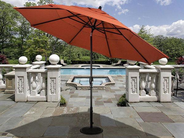Picture of FiberBuilt 9 Ft Market Umbrellas Crank Lift And Collar Tilt - Champagne Bronze Finish