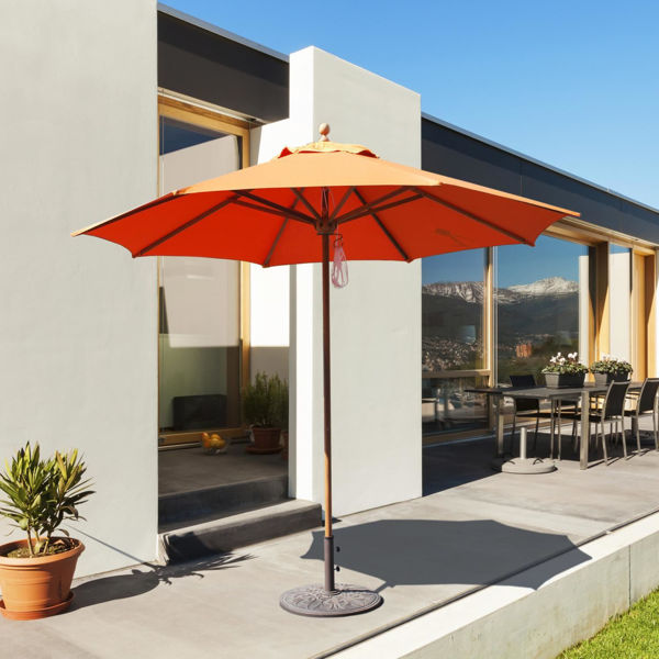 Picture of FiberBuilt 6 Ft Market Umbrellas Pulley and Pin Lift - Champagne Bronze Finish