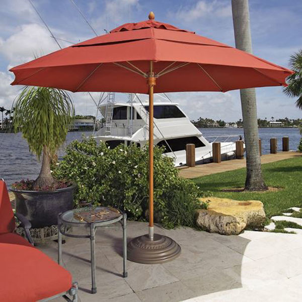 Picture of FiberBuilt 11 Ft Riva Umbrellas Pulley and Pin Lift - Champagne Bronze Finish