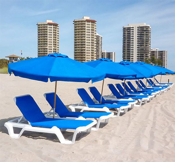 Picture of FiberBuilt 7.5 Ft Hexagon Beach Umbrella Push up Lift - Natural Ash Finish