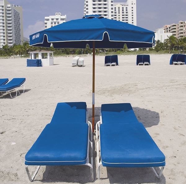 Picture of FiberBuilt 7.5 Ft Octagon Beach Umbrella Push up Lift - Natural Ash Finish
